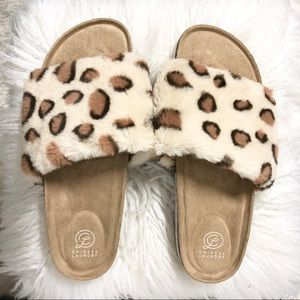 Chinese Laundry Leopard Print Faux Fur Sandals NWT